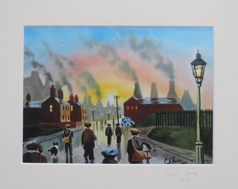Factory workers signed mounted print from original painting Gordon Bruce new art