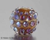 Bumpy, Lampwork Bead in ivory, pink and purple by Helen Gorick