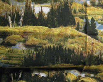 """Wild Wings & Lee Stroncek Beautiful Autumn and Forest Landscape 22"""" x 44"""" Autumn Browns, Rust,Yellows,Greens,Tans and Blues"""