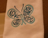 Ovarian Cancer Awareness - Fingertip Towels - Love, Faith, Courage, Hope Butterfly Towel