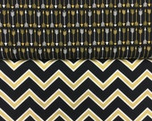CUSTOM Crib Bumpers for Kate - Gold Black White Chevron with Gold Sating Piping and Ties - for the Cutest Gender Neutral Nursery