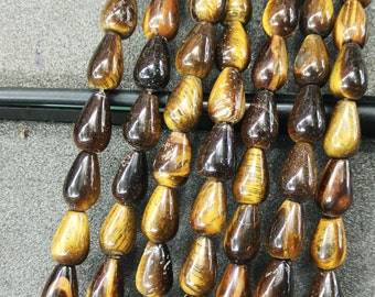 Black Gold Tiger Eye Stone Teardrop beads 8x12mm- Central Drilled- 33pcs/strand