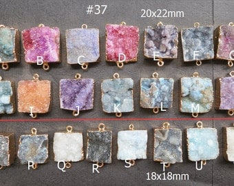 Blue Pink Purple Druzy Agate Rectangle Connector 20x22mm- 18x18mm - Gold plated- #37