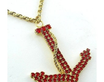 Red Rhinestone Anchor Pendant, Gold Tone Chain Necklace - Vintage