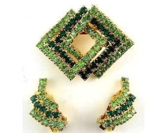 SALE 1960's Two Tone Green Rhinestones Pin & Earrings Set -  Interlocked Squares, Clip Earrings