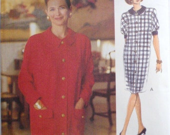 Vogue Woman Sewing Pattern - Misses/Misses Petite Loose Fitting Button Front Dress - Vogue 8591 - Sizes 14-16-18, Bust 36-38-40, Uncut