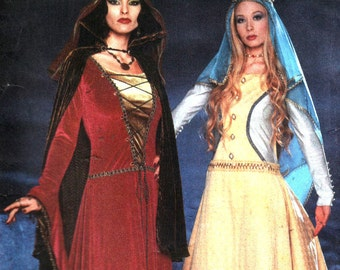 Medieval Costume Pattern, Medieval Gowns, Bell Sleeves, Lace Up, Collared Cloak, Veil,  Andrea Schewe- Simplicity 9758 UNCUT Size 6 8 10 12