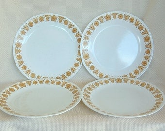 Set of 4 Vintage Corelle Butterfly Gold Dinner Plates with Gold Flowers and Butterflies