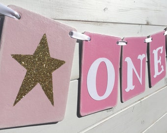ONE Banner, First Birthday Banner, Baby girl birthday, pink and gold, birthday photo prop, high chair sign, gold stars, baby photo prop