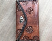 40% OFF 1970's Hand Tooled Brown Leather Wallet by Maeberry Vintage