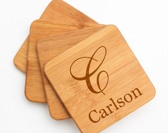 Personalized Bamboo Coasters, Custom Engraved Bamboo Coaster, Monogram, Personalized Coaster, Personalized Wedding Gift, Housewarming D3