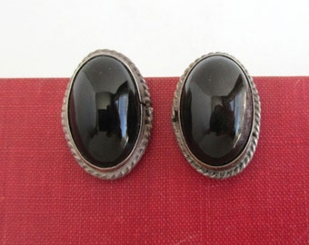 Sterling Silver & Black Earrings - Large, Vintage Mexico