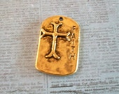 Faith Shiny Gold Pewter Cross Pendant