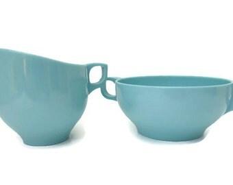 MELMAC Aqua Turquoise Blue Sugar & Creamer Vintage Kitchen Tableware Melamine Mid-Century Retro Kitchenware