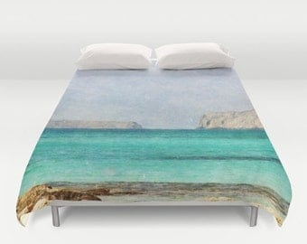 Art Duvet Cover At Sea 4 photography home decor photograph photo bedding full queen king bedroom texture ocean aqua sky blue nautical brown