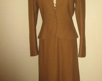 50% OFF SALE Vintage 2 PC Brown Wool Skirt Suit/Cassidy/Sz 6