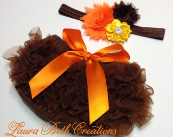 Fall Baby Bloomer, Brown Ruffle Bloomer and Headband, Photo Prop, Newborn Bloomer, Thanksgiving Bloomer, Ruffle Diaper Cover, Infant Bloomer