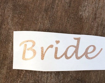 Glitter Bride Decal, Wedding Decals, Gold Wedding Decor, Wedding Deco, Wine Glass Decals, Vinyl Decals for Cups