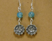 Blue Cracked Agate Earrings/Silver Flower Earrings