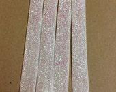 "5/8"" fold over elastic - 1 yard cut - irridescent white glitter clearance sale"