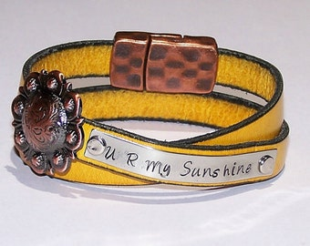 U R My Sunshine or Personalize - Your Choice of Words - Hand Stamped - Mustard Yellow Leather Wrap Bracelet - Friend - Teen - Inspirational