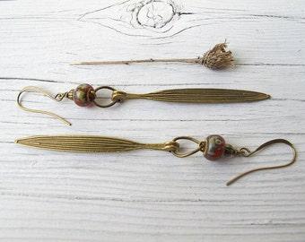 Bohemian Earrings, Long Leaf Dangles, Rustic Czech Glass, Hippie Bijoux, Boho Chic, Festival Fashion, Antique Brass Leaves, Tribal Hippie