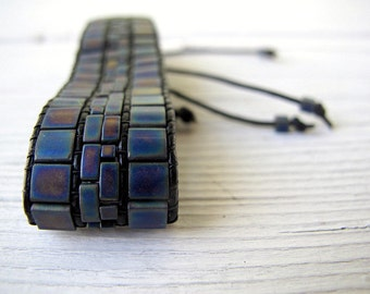 Tila Bracelet Beaded Wristband  Bohemian Jewelry Festival Fashion Miyuki Glass Matte Metallic Woven Bead Black Leather Mosaic Center