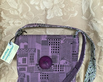 Handdyed Purple Cityscape Cottolin Vernazza Bag