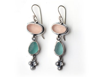 Pink and Green Sea Glass Earrings With Granulated Shapes Sterling Silver Bezel Set