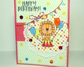 Happy Birthday Circus Lion Greeting Card - Handmade Paper Card for Kids or Adults with Coordinating Embellished Envelope