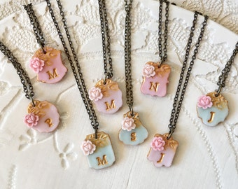 Mint, Blush and Pink Bridesmaid Letter Necklace to match David's Bridal Dress, Bridesmaids Set of 8