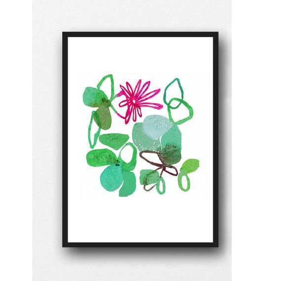 Abstract Watercolor painting flower green magenta floral painting print watercolor print kitchen decor