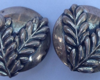 Sale Vintage Large Silver Olive Branch Clip On Earrings Dimensional