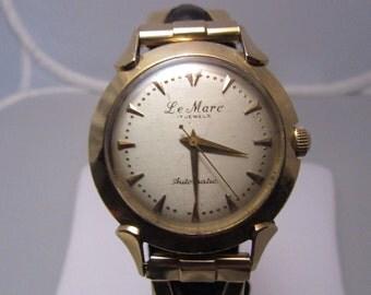 "Midcentury 14k ""Le Marc"" Gents Automatic Wrist Watch"