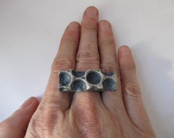 Bubble Wrap Ring in Cast Silver