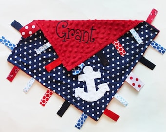 Nautical Themed PERSONALIZED Ribbon Tag Blanket with Anchor and Pacifier Clip, Large 16 x 16