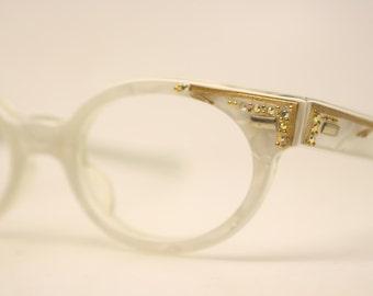 Cat Eyeglasses Unused White Rhinestone cat eye glasses vintage cateye frames eyeglasses NOS