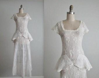 STOREWIDE SALE 30's Eyelet Dress // Vintage 1940's Eyelet Organdy Full Length Wedding Day Dress Gown