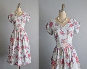 STOREWIDE SALE 50's Floral Dress // Vintage 1950's Floral Print Full Cotton Garden Party Day Dress