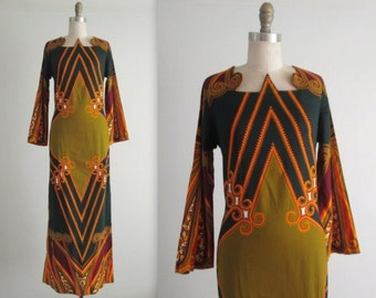 70's Boho Dress // Vintage 1970's Vibrant Graphic Print Cotton Caftan Maxi Dress S