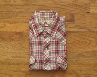 mens vintage plaid western shirt