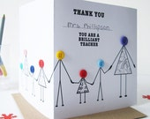 Thank You Teacher Card - Teaching assistant card from children - Wrap around Personalised Teacher thanks card - Thank You Tutor Card