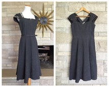 Vintage Gray Cocktail Dress * 1950s Party Frock * Textured Cotton * Womens Size Medium