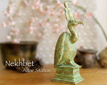 Nekhbet - Egyptian Vulture Votive Statue - Patron of Upper Egypt - Protector of Mothers and Children - Handmade with Brass Patina Finish
