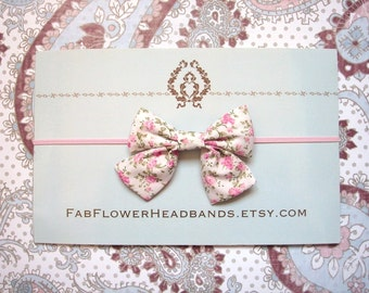 Small Pink Green White Bow Headband - Country - Newborn Bow Headband - Baby Bow Headband - Pink Floral Bow
