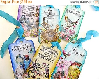 French Inspired Hang Tags - Birds & Flowers - set of 6 with glitter!