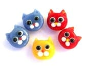 5 TINY cat face beads, lampwork glass, blue, red, and yellow cats