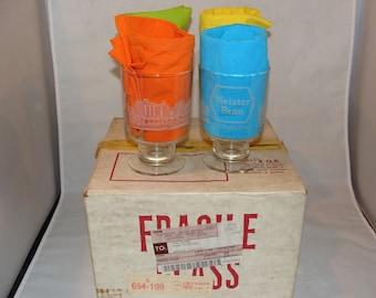 NOS Set Of 4 Meister Brau Beer Glasses with Vintage Chicago Skyline