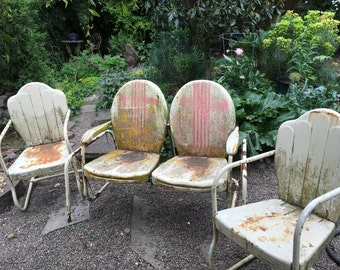 Midcentury Metal Glider With 2 Matching Chairs