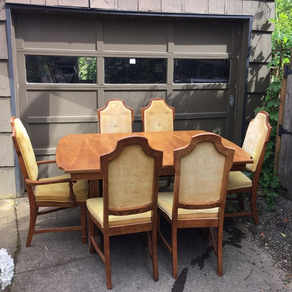 Vintage Mid Century Dining Rooms: Vintage Mid-Century Wood Dining Room Table Set With 6 Chairs